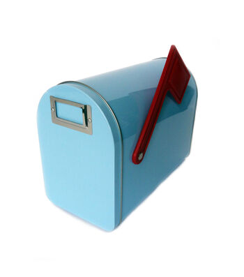 Hampton Art Medium Tin Mailbox-Pastel Blue