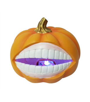 Maker's Halloween Large Resin Novelty LED Pumpkin with Mouth
