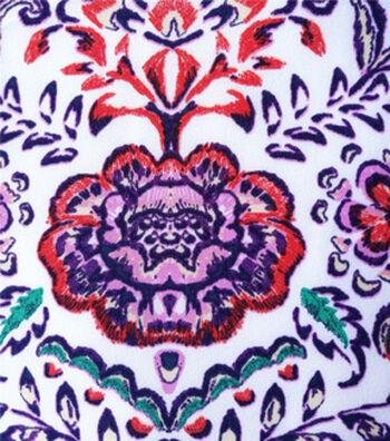 Stretch Chiffon Fabric 57''-Pink Folk on White
