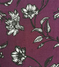 Stretch Crepe Knit Fabric-Fig & White Sketched Stems