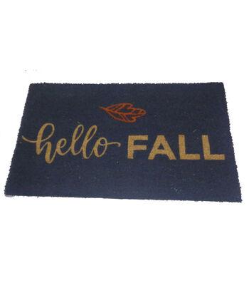 Simply Autumn Coir Mat-Hello Fall on Blue