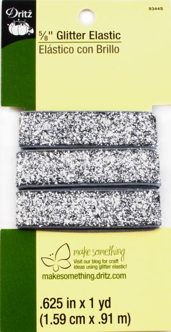 Glitter Elastic Silver- 1 Yard