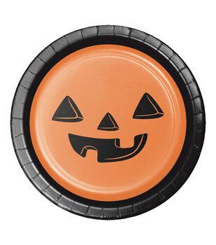 Maker's Halloween 8 pk 6.88'' Lunch Plates-Jack-o'-lantern