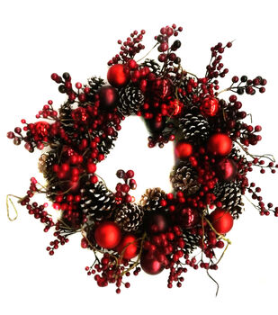 Handmade Holiday Christmas 24'' Pinecone, Red Bulb & Berry Wreath