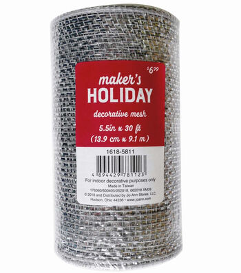 Maker's Holiday Metallic Decorative Mesh Ribbon 5.5''x30'-Silver