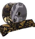 Cascade Halloween Velvet Ribbon 2.5\u0022x15 yds-Gold Foil Bats