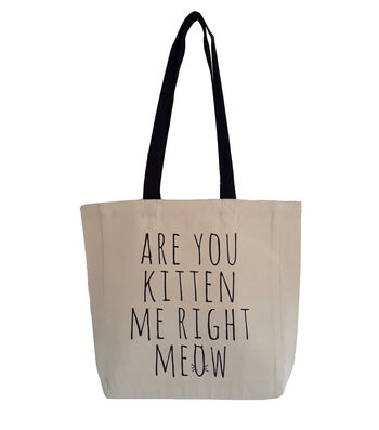 Canvas Tote 16.5''x14.9''-Are you Kitten Me Right Meow