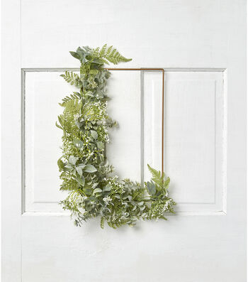 Fresh Picked Spring Fern, Leaves & Baby's Breath Rectangle Wreath