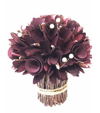 Blooming Autumn Woodchip Topiary-Burgundy