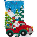The Christmas Drive Stocking Felt Applique Kit 18\u0022 Long