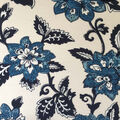Apparel Knit Fabric-Ivory & Blue Floral