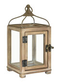 Hudson 43 Rustic Wooden Lantern-Warm Gray
