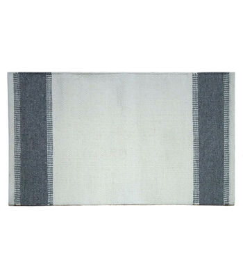 Hudson 43 Pure Polyester Rug-Ivory with Gray Border