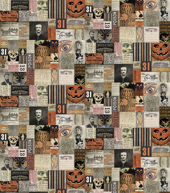 """Halloween Cotton Prints Fabric 45""""-Materialize 31st"""