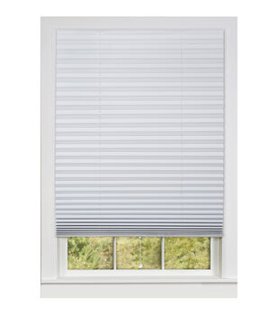 "1-2-3 36""x75"" Vinyl Room Darkening Pleated Shades-White"