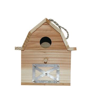 Unfinished Wood Birdhouse-Barn