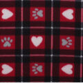 Blizzard Fleece Fabric-Hearts & Paws on Red Plaid