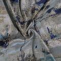 Brocade Fabric-Watercolor Metallic Blue