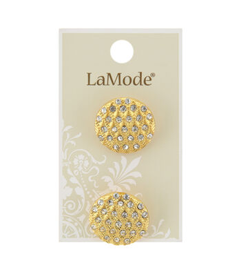 La Mode 2 pk 22 mm Gold Shank Buttons with Clear Rhinestones