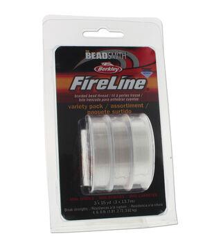 The Beadsmith Fireline 3 pk Braided Bead Threads 15 yds-Clear