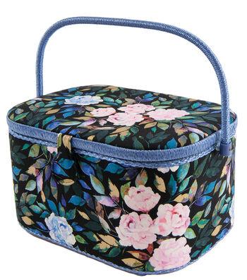 Oval Sewing Basket-Floral on Black