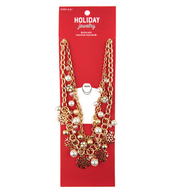 hildie & jo Christmas Gold Necklace-Snowflakes, Pearls & Rhinestones