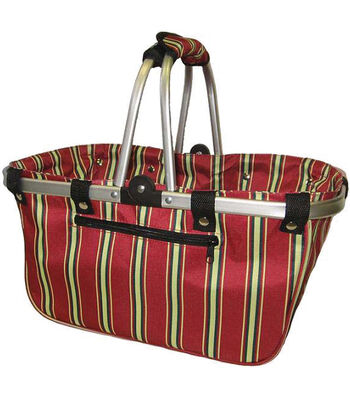 JanetBasket Large Aluminum Frame Basket-Red Stripe