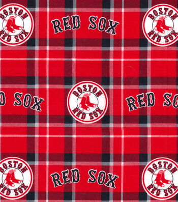"Boston Red Sox Flannel Fabric 42""-Plaid"