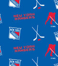New York Rangers Fleece Fabric -Tossed