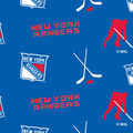 New York Rangers Fleece Fabric -Tossed