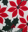 Christmas Cotton Fabric 43\u0027\u0027-Poinsettia & Holly on Ivory