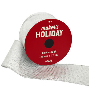 Maker's Holiday Christmas Lame Ribbon 2.5''x25'-Silver