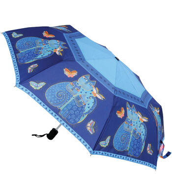 Laurel Burch Compact Umbrella-Indigo Cats