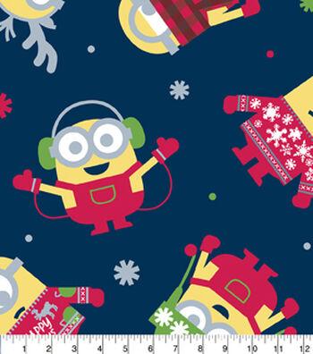 Christmas Fleece Fabric-Minions Tossed