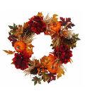 Blooming Autumn Hydrangea, Pumpkin, Berries & Pinecone Wreath
