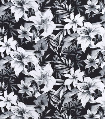 Silky Print Rayon Fabric 53''-White Flowers on Black