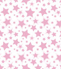 Nursery Flannel Fabric 43\u0022-Starry Night Pink
