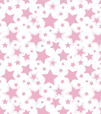 "Nursery Flannel Fabric 43""-Starry Night Pink"
