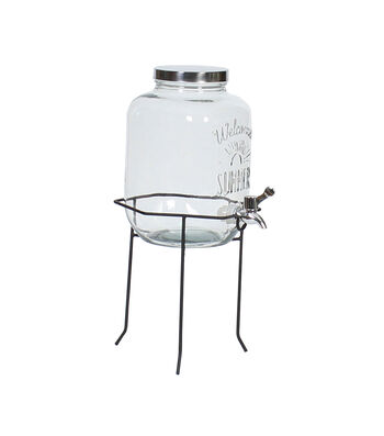 Americana Patriotic Glass Mason Jar Dispenser & Stand
