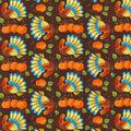 Harvest Cotton Fabric-Prancing Turkeys On Brown