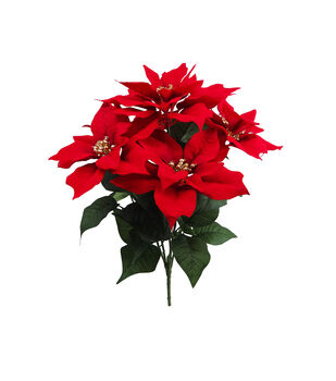 Handmade Holiday Christmas Water Resistant Poinsettia Bush-Red