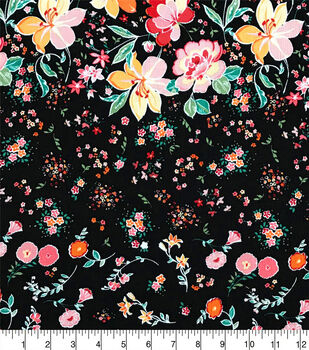 Silky Crinkle Rayon Fabric-Black Multi Big Little Floral