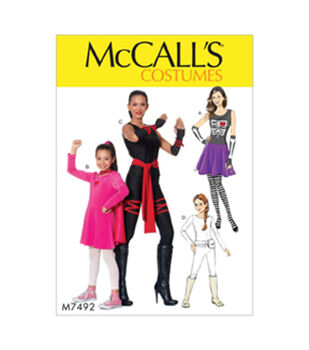 McCall's Pattern M7492 Girls' Skeleton, Hero, Ninja or Fighter Costumes