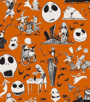 Nightmare Before Christmas Halloween Cotton Fabric-Friends