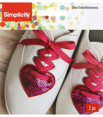 Wrights 2 pk 2.1''x2.5'' Heart Shoe Embellishments-Red