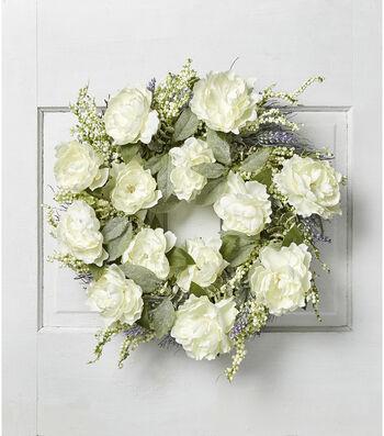 Fresh Picked Spring 22'' Peony & Spiral Vine Wreath