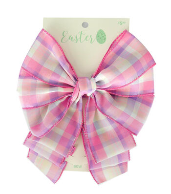 Easter Decorative Bow 9''x5''-Pink Plaid