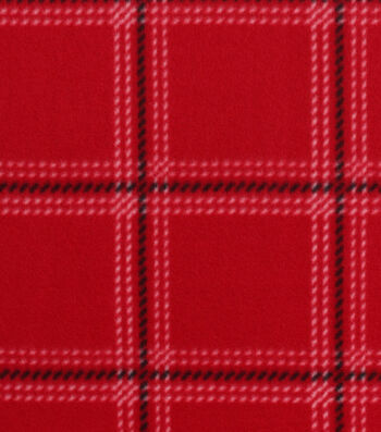 """Blizzard Fleece Fabric 59""""-Downtown Red Plaid"""