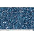 Novelty Cotton Fabric-Paisley Dog Blue