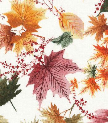 "Harvest Cotton Fabric 44""-Autumn Leaves on Cream"